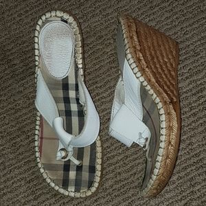 Burberry thong espadrille wedge sandals